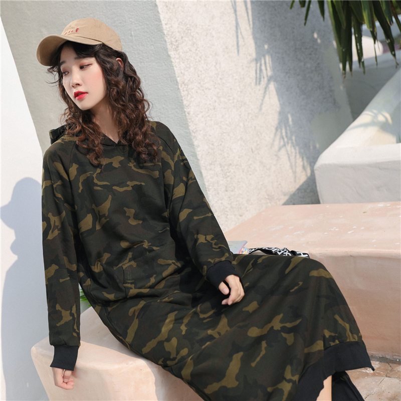 New Camouflage Hooded Women Knitted Dress Midi Sweater Dresses Winter Autumn Female Sweaters Hoodies Dress Pullover Large Size
