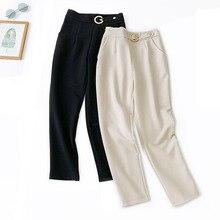 Wasteheart Autumn Women Fashion Khaki Long Pants Harem Pants High Waist Full Length Female Pants Sweatpants Formal Office Style