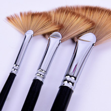 3Pcs/Set Oil Painting Brushes Artist Paint Brush Fan-shaped Drawing Art Supplies Wooden Handle Multi Purpose Black