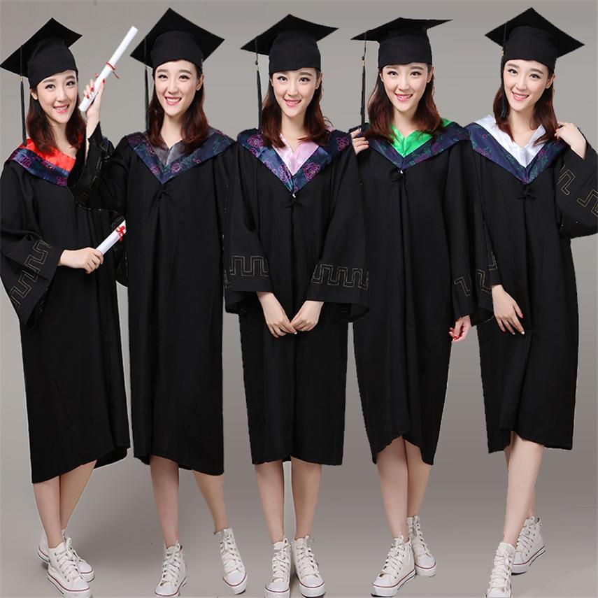 6Style University Graduation Gown Student High School Uniforms Class Team Wear Academic Dress For Adult Bachelor Robes+Hat Set