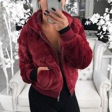 Women Winter Warm Faux Fur Coat Long Sleeve Female Thicken Zipper Pockets Outwear