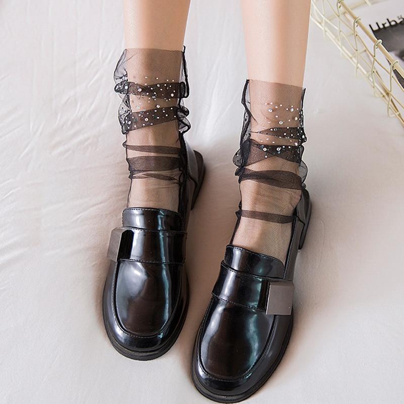 Shine Crystal Tulle Socks Women Transparent Mesh Lace Socks Female Thin Long Happy Socks Dress Sock Streetwear Calcetines Mujer
