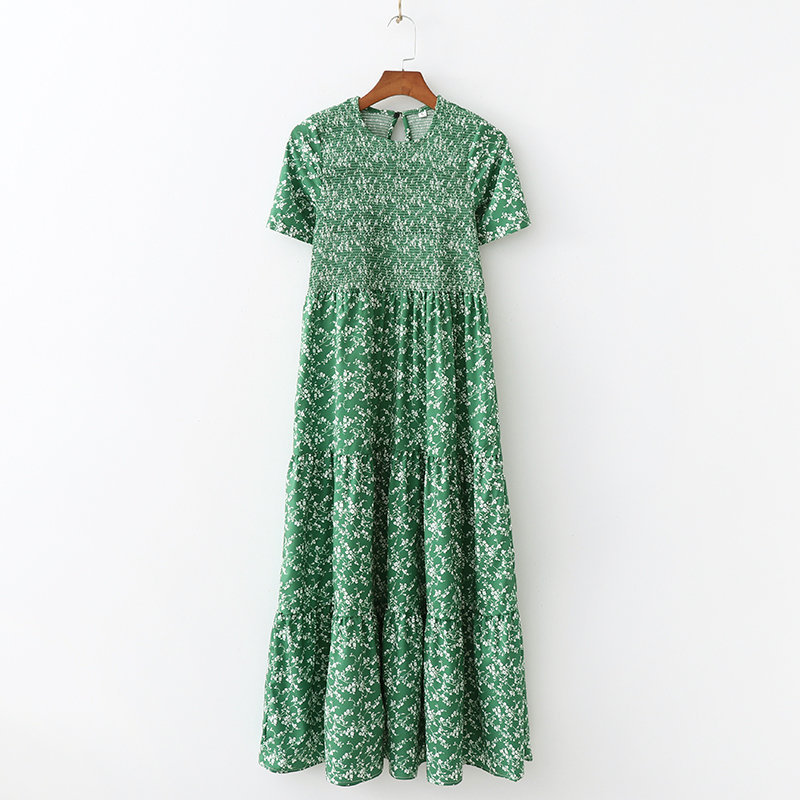 Vatican Ji Sha Europe And America WOMEN'S Dress New Style Pastoral Style Green Shivering Elastic Slim Fit Long Dress N1-2040