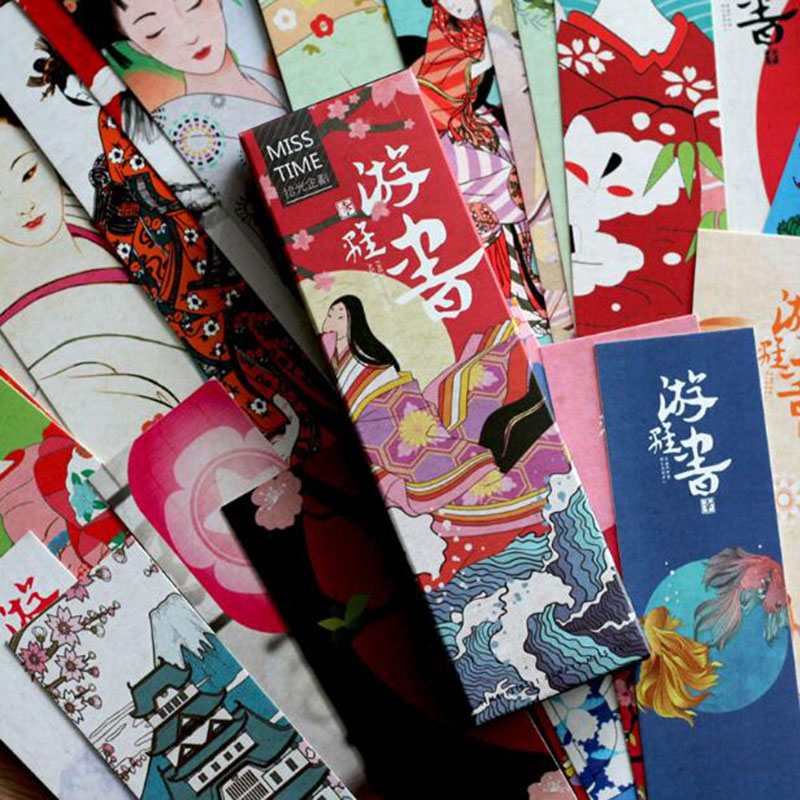 30pcs / Set Of Japanese Classical Creative Wind Cute Kawaii Paper Bookmarks And Wind Literary Paper Students Commemorative Gifts