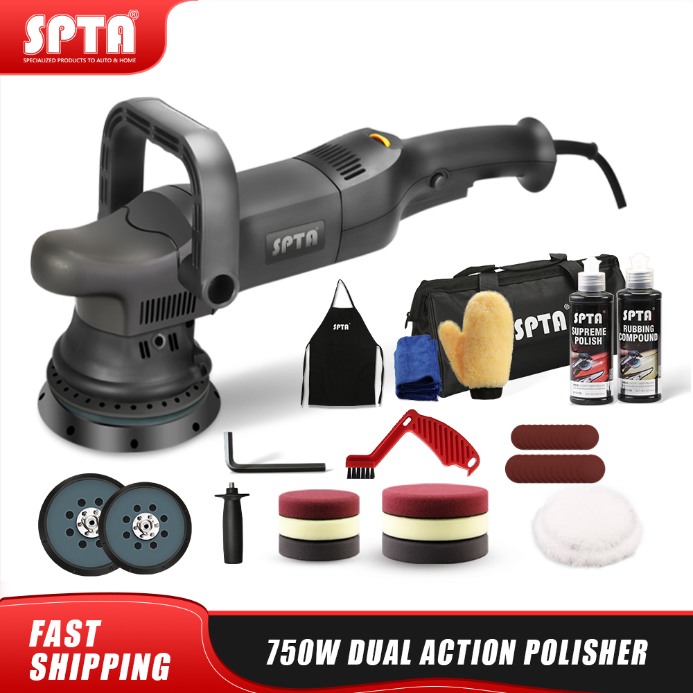 SPTA 5inch 750W Dual Action Polisher Orbit 15mm Auto Polisher DA Car Polisher Home DIY Polisher with Waxing Polishing Pads Set