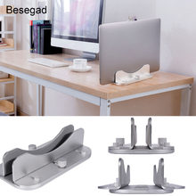 Besegad Aluminium Alloy Adjustable Vertikal Laptop Stand Hemat Ruang Desktop Dock Pemegang Bracket untuk Apple MacBook Air Notebook(China)