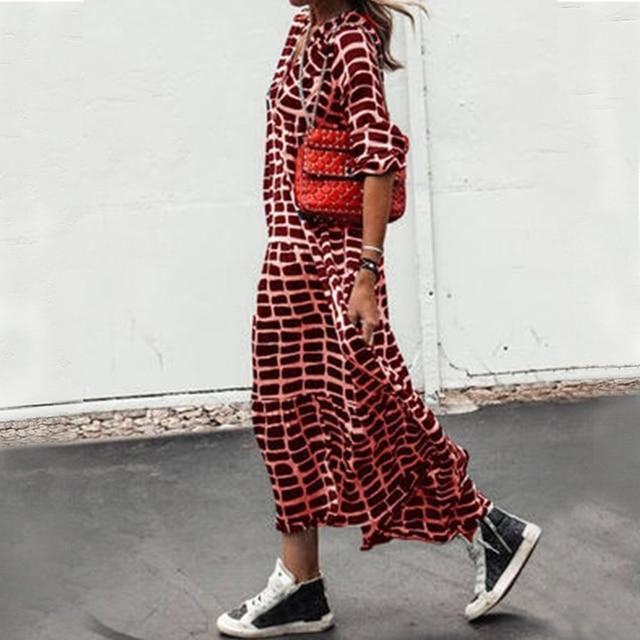 2021 Holidays Boho Dress Women Casual Chic Print Loose Dresses V Neck A-Line Long Sleeve Maxi Dress Female Vestido De Mujer 4