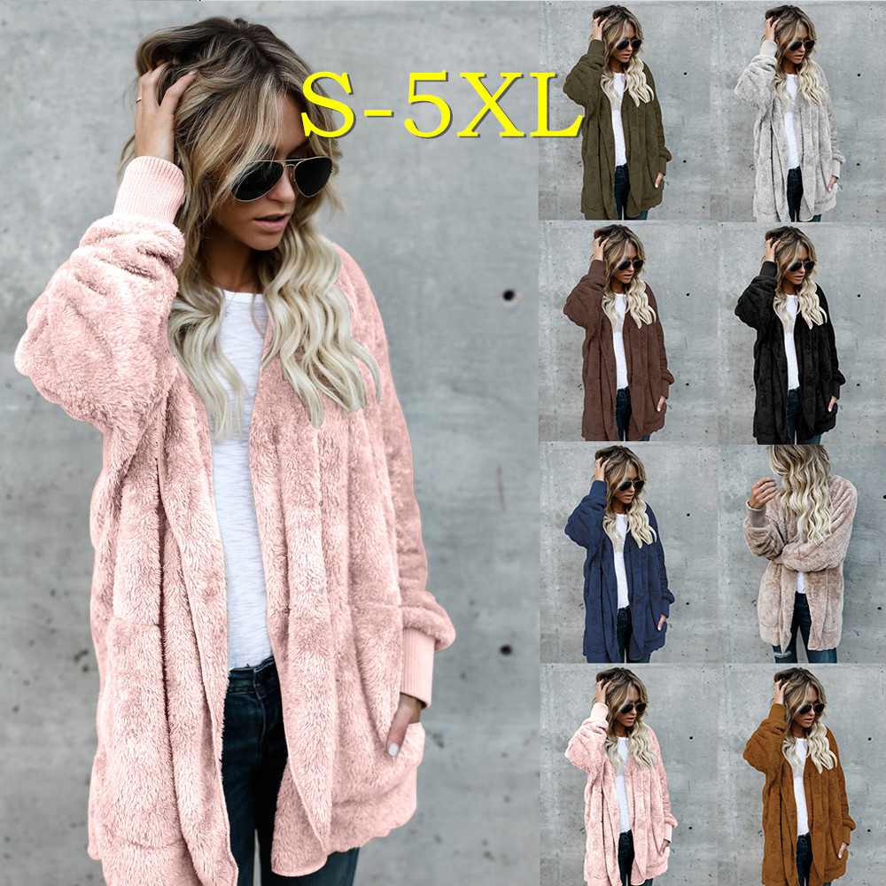 Plus Size Sweater Plush Coats Long Sleeve Warm Cardigan Outwear Teddy Cozy Jacket Fashion Women Autumn Winter