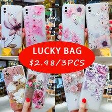 Case For Xiaomi Redmi Note 8 7 5 6 Pro Note 4X Redmi 6 7 4X 5A 5 Plus 5A Mi 8 9 A1 A2 Lite 3D Relief Silicone Lucky Bag Cover yimaoc the godfather fashion glass case for xiaomi redmi 4x 6a note 5 6 7 pro mi 8 9 lite a1 a2 f1