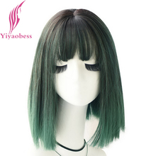Short Wig Bangs Natural-Hair Cosplay Straight Synthetic Purple Blue Green Ombre Women