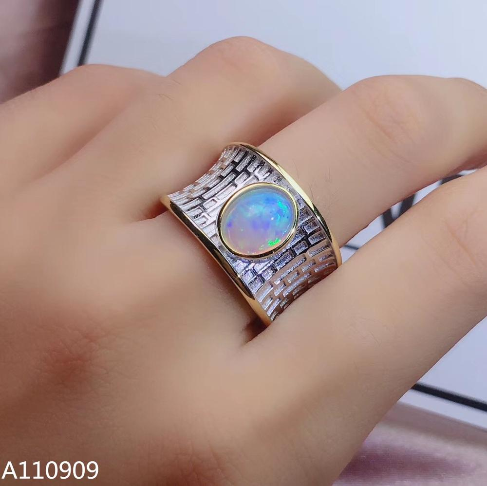 KJJEAXCMY boutique jewelry 925 sterling silver inlaid Natural Opal ring female models support detection beauty