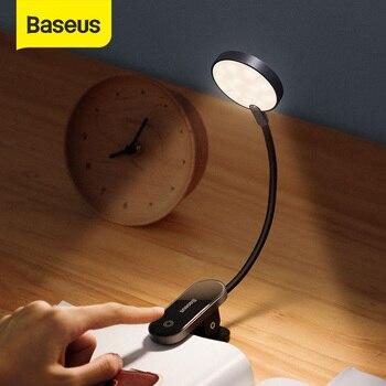 Baseus Book Light USB Led Rechargeable Mini Clip-On Desk Lamp Light Flexible Nightlight Reading Lamp for Travel Bedroom Book 1