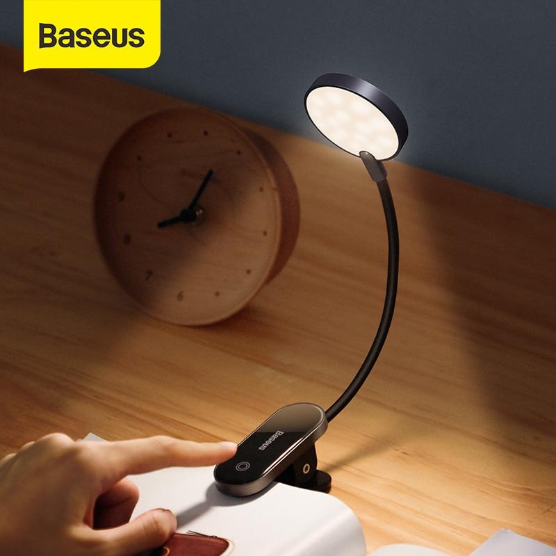 Светильник для книги Baseus светодиодный Аккумуляторный с зарядкой от USB, мини-Светильник настольный с клипсой, гибкий ночсветильник, лампа дл...