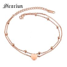 DICARLUN stainless steel anklets jewelry for women rose gold ankle bracelet girls anklet leg jewelry heart anklet double chain(China)