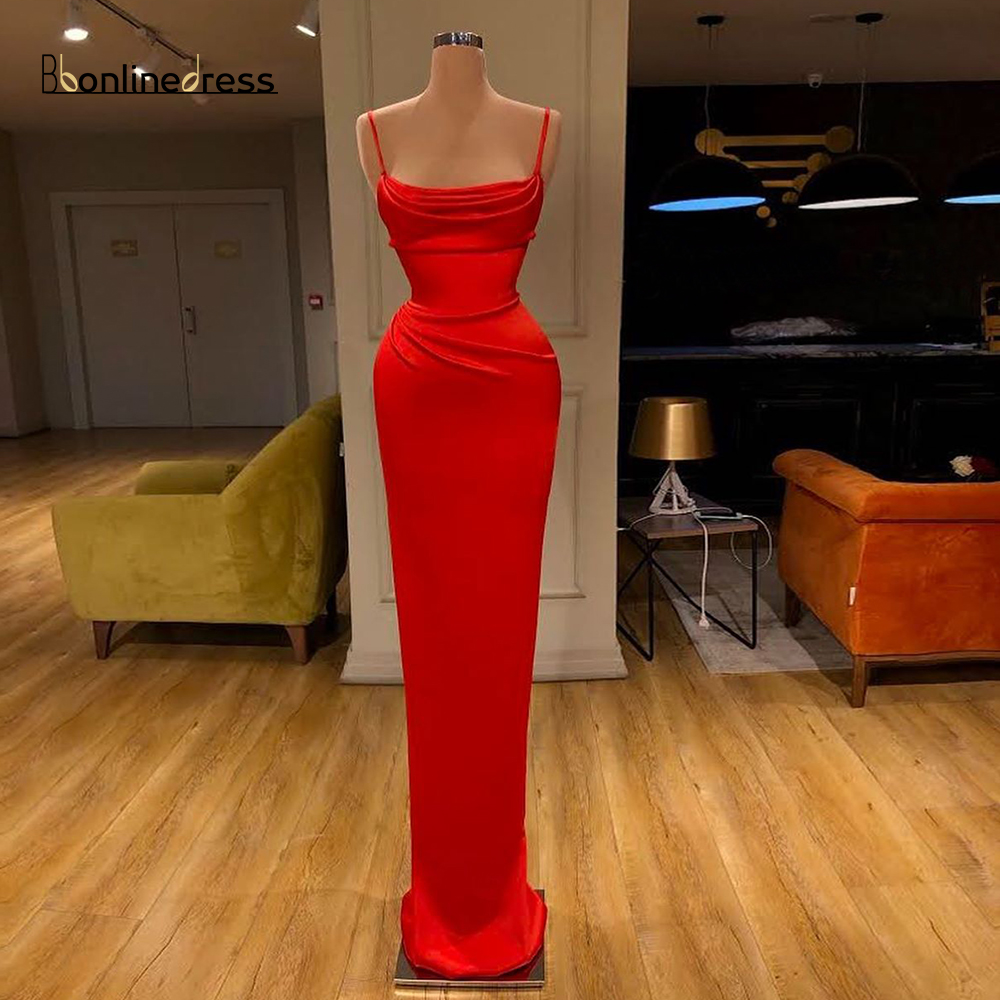 2020 Elegant Red Mermaid Evening Dress Spaghetti Strap Evening Dresses Long Charming Formal Party Gowns Plus Size Robe De Soiree