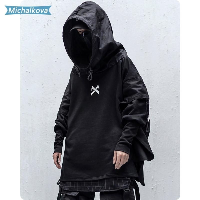 Japanese Streetwear Man Hoodies Hip Hop Embroideried Pullover Patchwork Fake Two Darkwear Tops Techwear Hoodies michalkova