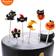 6pcs Resin Cat Moon Ghost Castle Pumpkin Spider Bat Halloween Theme Cake Topper Kids Favors Party Supplies Cake Decoration hi fi наушники audio technica ath sr9
