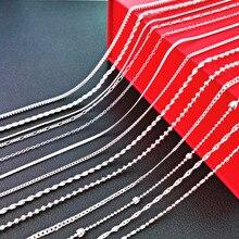 Colar de prata pura para o homem mulher caixa corrente cobra colar gargantilha collier 16