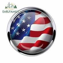 EARLFAMILY 13cm x 13cm flaga ameryki Domed godło naklejki samochodowe metalowa chromowana ramka okrągła naklejka wodoodporna naklejka na samochód winylu
