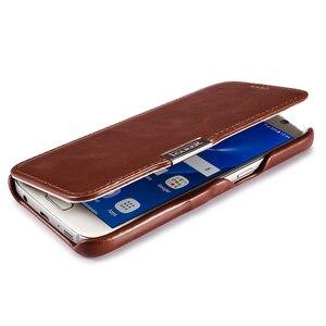 Image 4 - Funda de cuero genuino de lujo para Samsung Galaxy S7 Fundas de moda de pantalla completa cubierta de protección magnética Flip Cover Fundas de teléfono