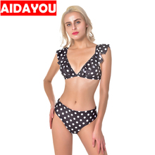 bikini ruffled deep V black and white red wave dot print sexy swimsuit  out202