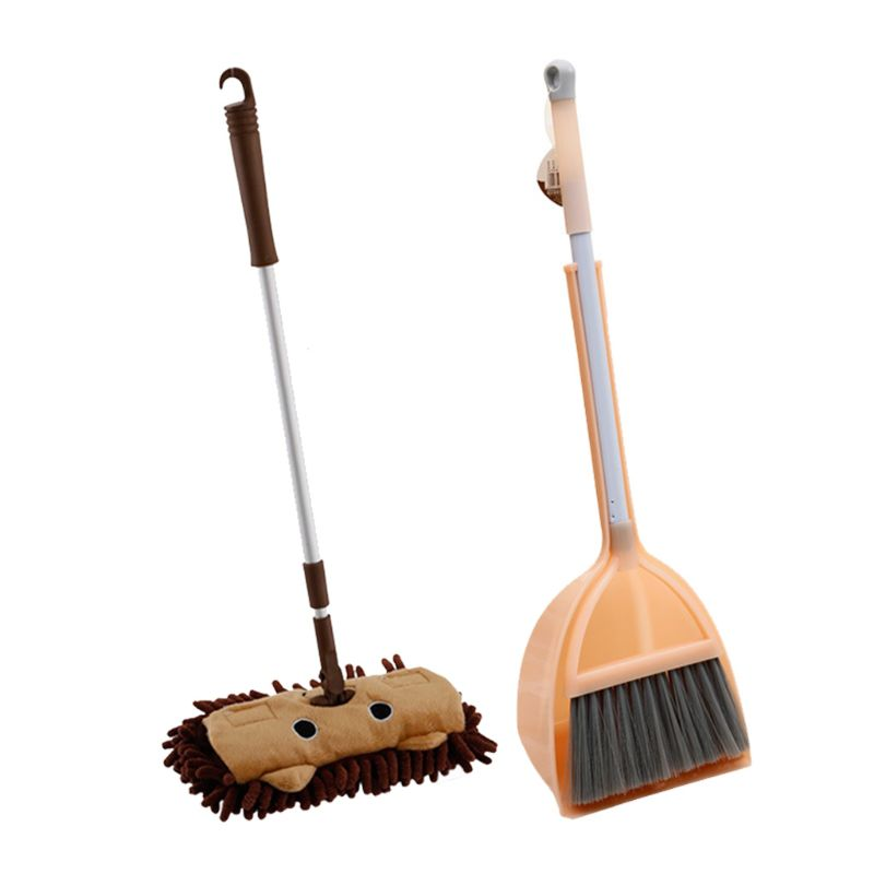 Kids Household Cleaning Set Broom Dustpan Sweeping Tools Child Training Play Toy N1HB