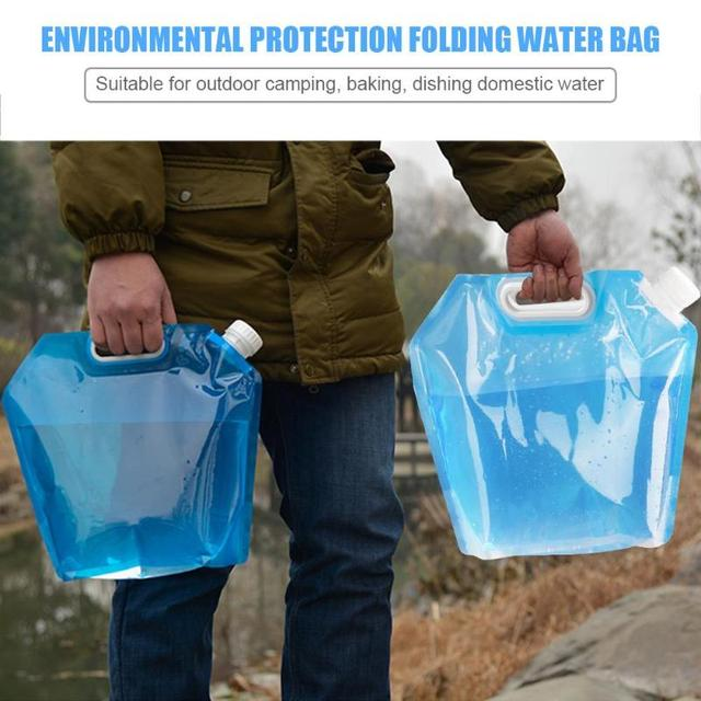 New Folding Water Container PVC Foldable Water Storage Container Water Bags for Sport Camping Hiking Picnic BBQ Water Resistant 1