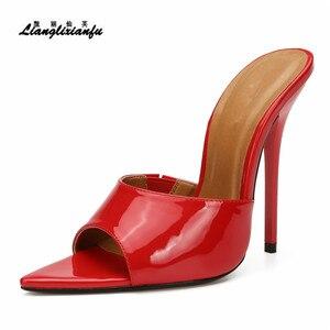 Image 3 - LLXF pantofle zapatos mujer US15 16 17 lato szpilki buty kobieta 13cm cienkie obcasy sandały klasyczne ślubne z lakierowanej skóry pompy