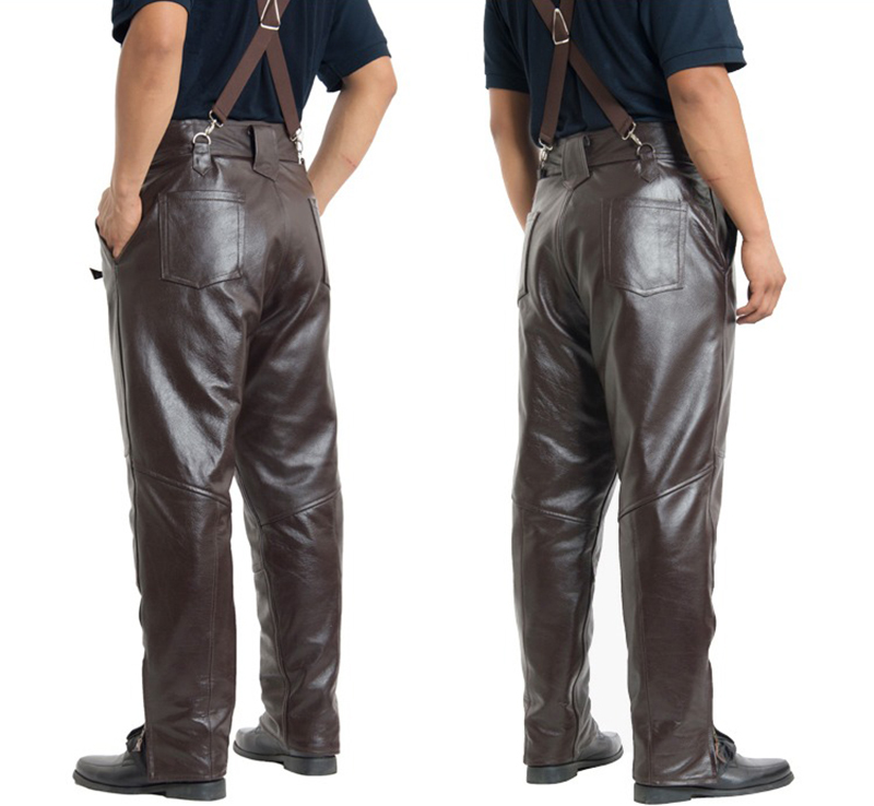 Brown Mens Luxury Cowhide Trousers Plus Size Loose Genuine Real Leather Man Zippers Motorcycle Riding Pants Winter Warm 13
