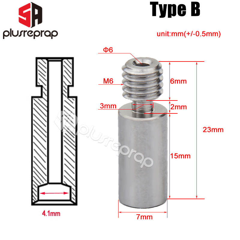 2pcs/lot Throat High-Temperature Stainless Steel Hotend Extruder for Reprap as 3D Printer Parts 4