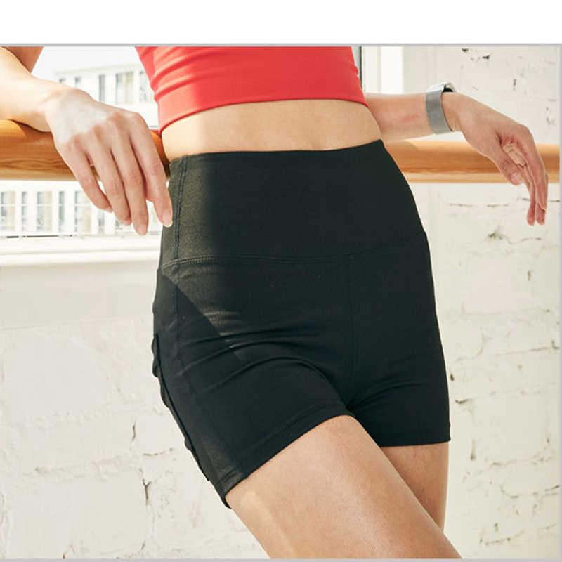 Спорт Фитнес шорты Женщины высокой талией бег тренажерный зал тренировки