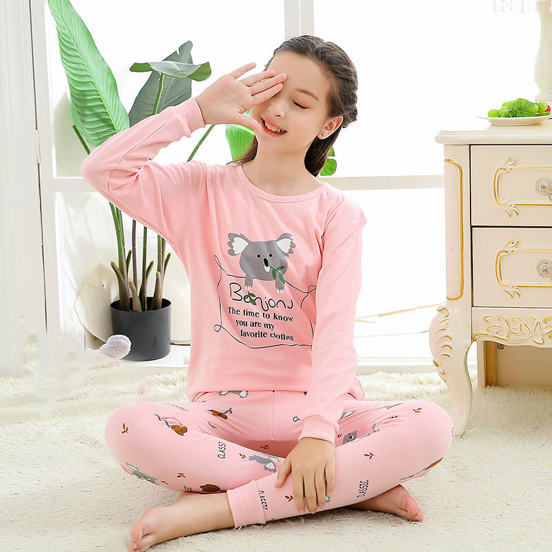 Autumn Children Pajamas For Girls Cartoo Pyjamas Set Kids Pijama Boy Nightwear Cotton Teens Long Sleeve Sleepwear Suit For 9-19Y 1