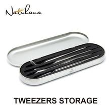 NATUHANA Tinplate Case Eyelash Planting Tweezers Anti Static Affordable Tweezers for Eyelashes Exten