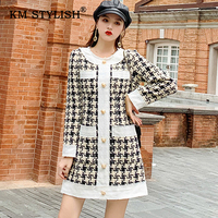 New Women Winter Dress Tweed Patchwork Single breasted Casual Dresses Plaid Pockets O neck Long sleeve Female Dress