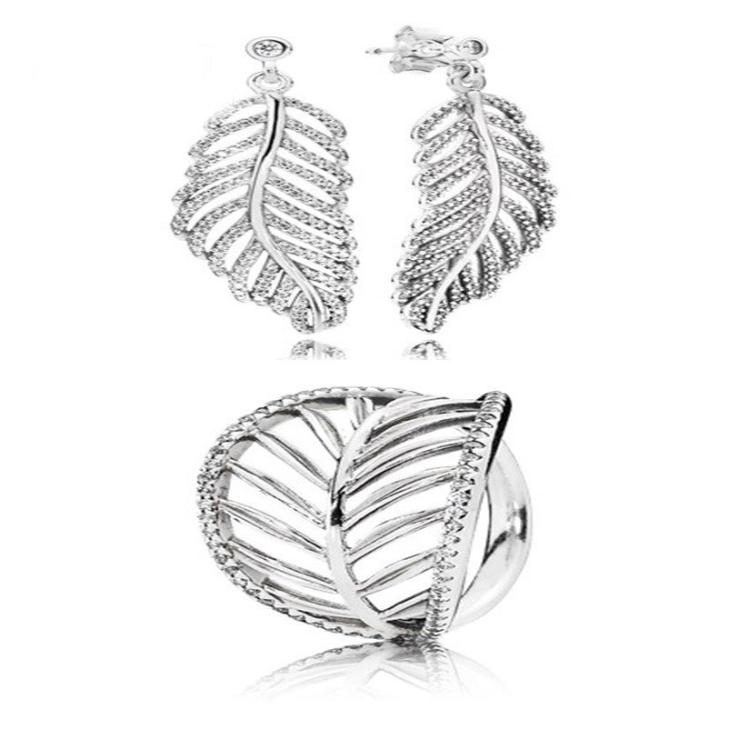 NEW100% 925 Sterling Silver Leaf Leaves Zircon Hollow Elegant Ring Elegant And Elegant Ear Studs Factory Outlet
