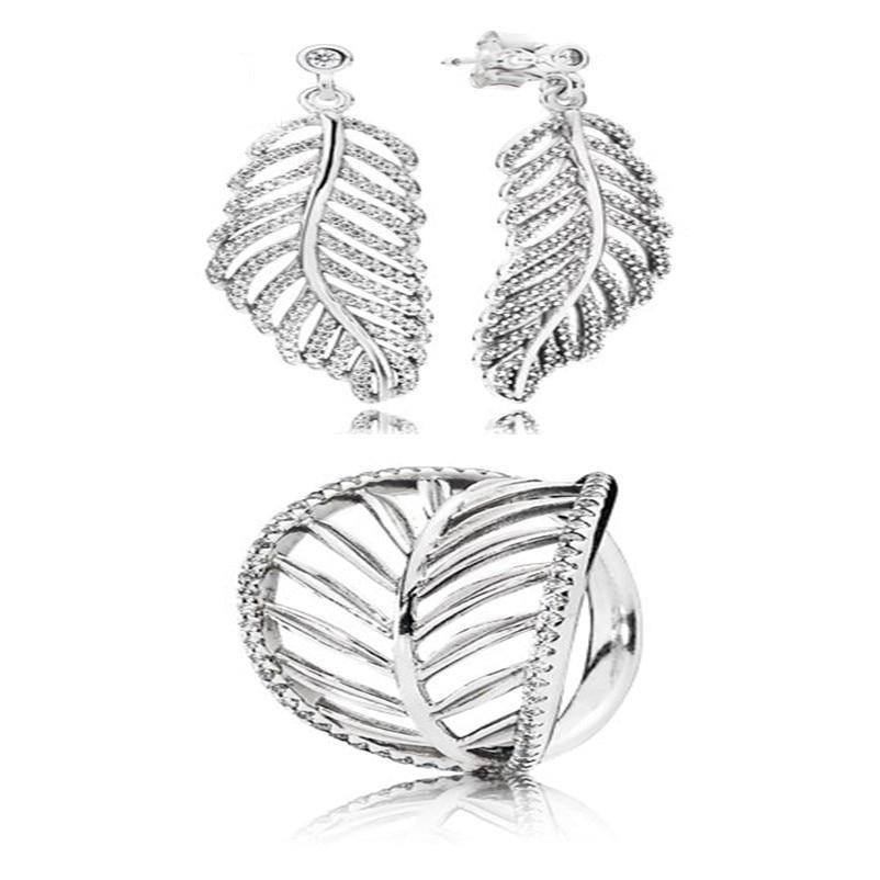 NEW100% 925 Sterling Silver Leaf Leaves Zircon Hollow Elegant Ring Elegant And Elegant Ear Studs Factory Outlet