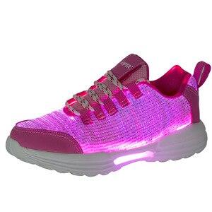 Image 5 - حجم 35 46 الأطفال مضاءة أحذية الفتيان الفتيات مصباح LED متوهج أحذية رياضية للأطفال رجل إمرأة مع مضيئة وحيد الألياف البصرية الأحذية