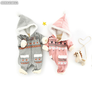 Image 1 - 아기 romper 신생아 가을 겨울 크리스마스 아기 옷 양털 아기 소녀 romper 면화 후드 아기 jumpsuit 소년 romper 점프 슈트