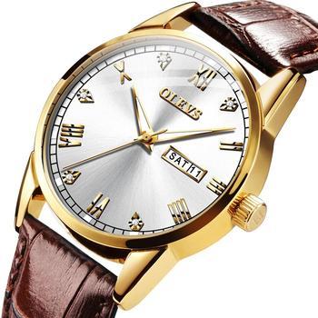 цена на OLEVS Men Watch Waterproof Leather Luxury  24 Hour Date Quartz Watches Male Rhinestone Sport Wristwatch smart watch for men