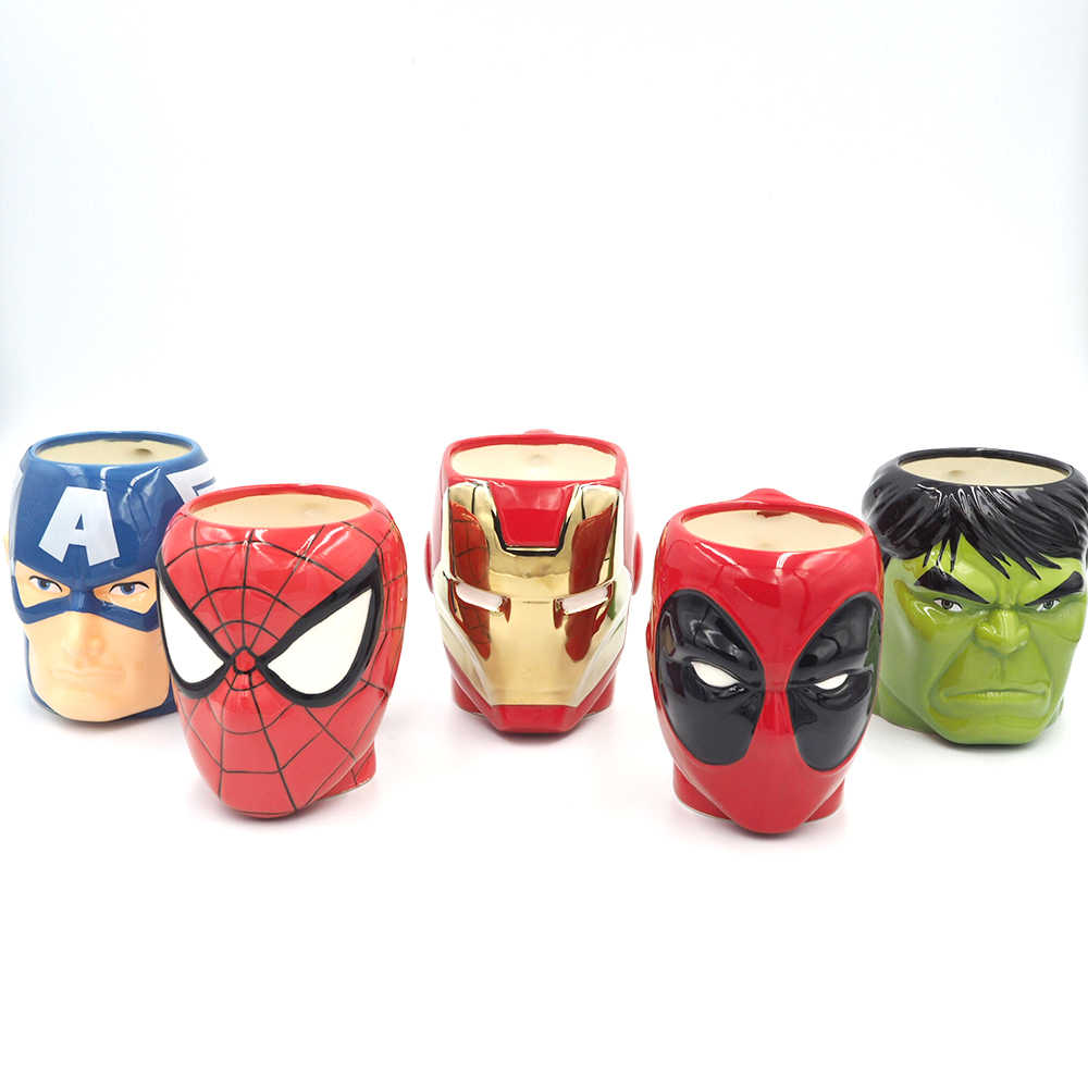 Cartoon Super Hero Iron Man E Capitan America Spiderman Tazze di Ceramica Creativa Deadpool Hulk Tazza di The Avengers Tazza