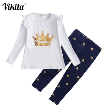 VIKITA Girls Clothing Sets Long Sleeve T-shirt Tops and Pants 2 pcs Girls Autumn Spring Outfits Girls Cotton Clothes Sets Suits toddler girl outfits 2018 striped patchwork t shirt tops denim pants clothes kids 2 pcs autumn suits children outfits clothing