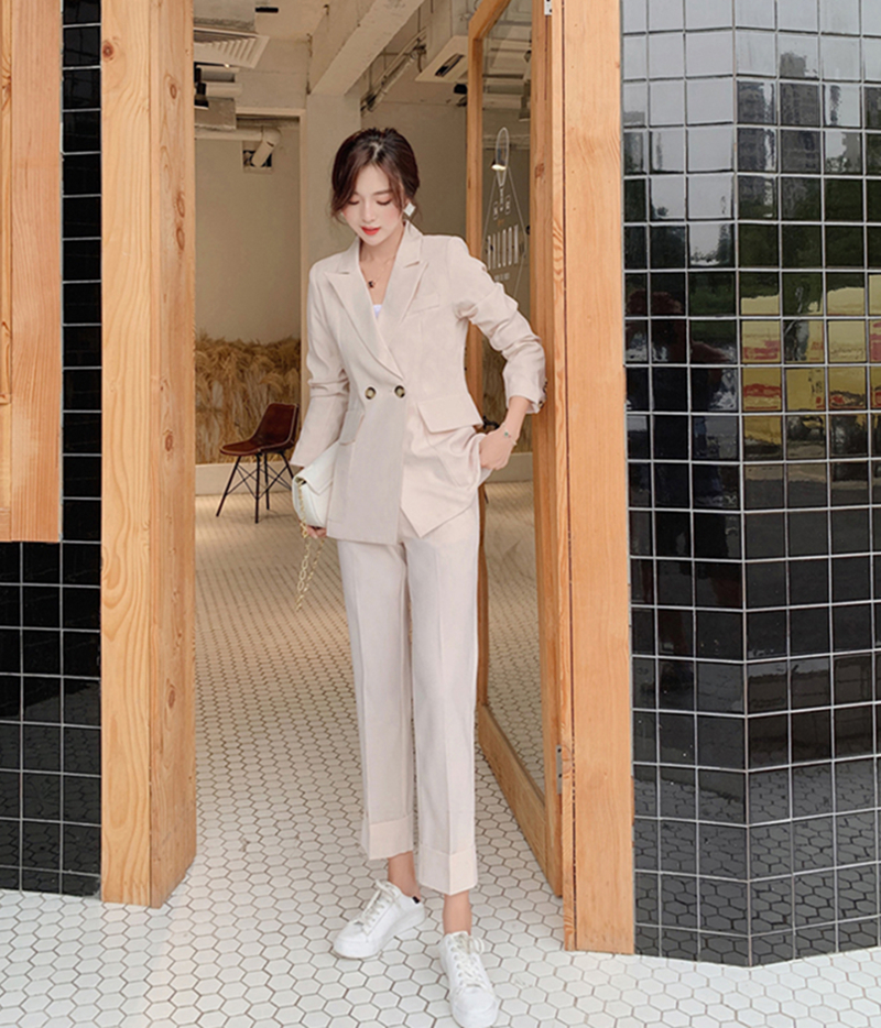 Vintage Spring  Women Pant Suit Notched Blazer Jacket & Pant 2020 Office Wear Women Suits Female Sets