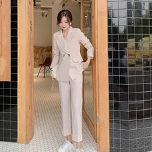 Vintage Spring Women Pant Suit Notched Blazer Jacket & Pant 2020 Office Wear Wom