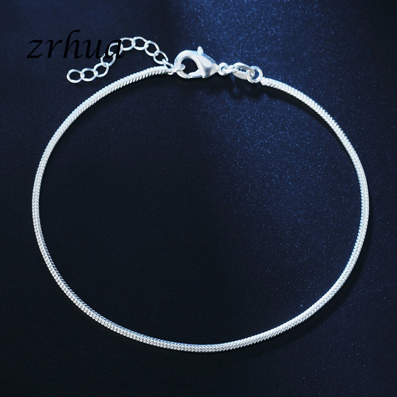 New Arrival Simple Beautiful Small Snake Chain 925 Sterling Silver Anklets Top Quality Christmas Gift For Girls Engagment Bijoux