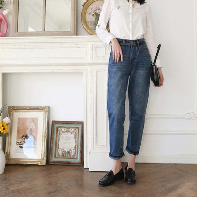 Vrouwen Jeans Asymmetrisch Cut Vintage Straight Negen-Punt Jeans Vrouw Jeans Broek