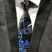 Дизайнерский галстук с музыкальной символикой, модный мужской галстук для художника, музыканта, для концерта, музыкальная тема, вечерние