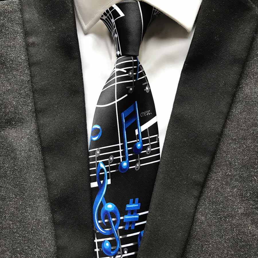 New Designer Music Notation Tie Fashion Men Artist Musician Necktie For Concert Musical Theme Party