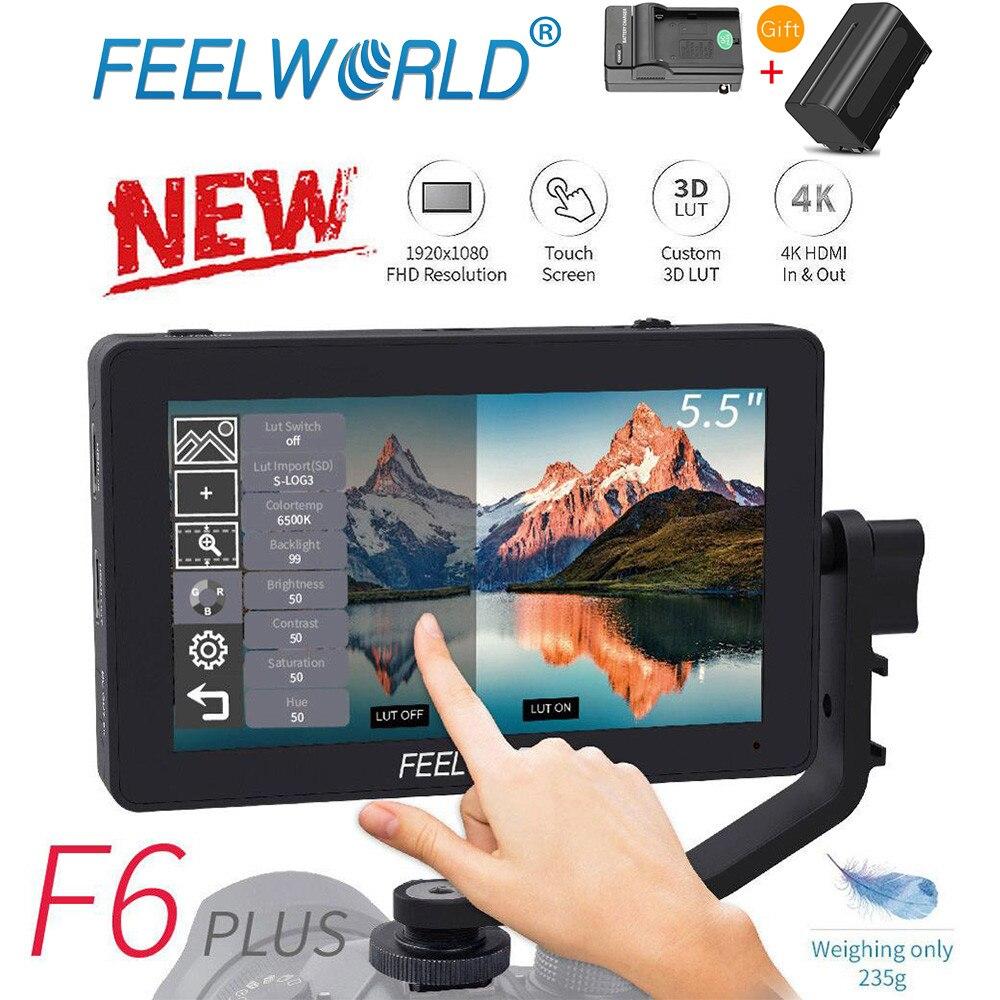 FEELWORLD F6 ALÉM de Tela Sensível Ao Toque de 5.5 IPS Polegada 3D LUT 4K HDMI Monitor Full HD 1920x1080 DSLR monitor de Campo câmera para Canon Nikon