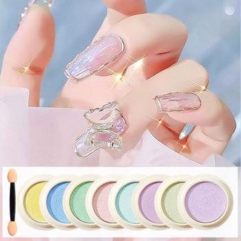 Aurora Transparent Neon Solid Mirror Nail Powder Glitter Dust Nails Chrome Pigment Nail Art Decorations Accessories