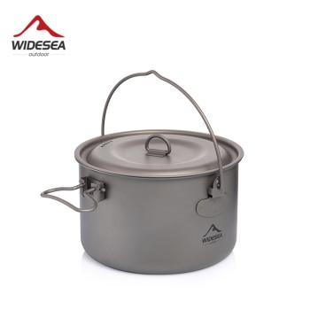 Widesea Camping Tableware Titanium Cookware set tourism cauldron Outdoor Cooking Pot Picnic Kitchen Hiking Trekking 1